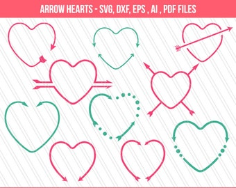 Arrow heart svg | Heart svg |svg cutting files | Heart clipart | valentine's heart | Heart monogram svg| Cricut | eps,dxf,ai,svg,pdf