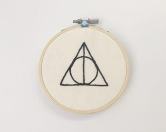Deathly Hallows - Embroidery Hoop Art - Embroidery Wall Hanging