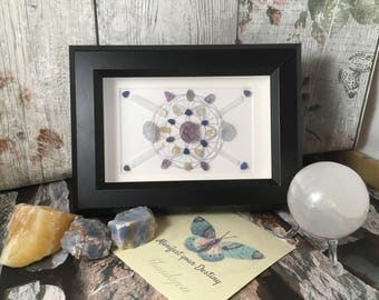 Crystal Grid / Crystal Grid Shadowbox / Aura Cleanse / Sacred Geometry / gifts for birthday / gift for home / chakra / celestite / selenite