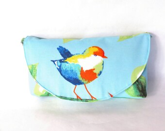 Blue bird clutch - spring purse - gift for her - blue purse - blue shoulder bag - anniversary gifts - bird purse - blue bag - floral purse