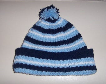 Blue and white striped baby hat