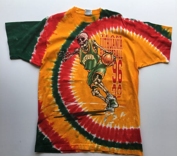 Vintage 90s 1996 Grateful Dead Lithuania Basketball Tie Dye