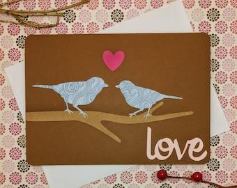 Anniversary Card, Love Bird Card, I love you card, Wedding card, In love card, handmade card, Valentine's Day card