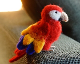 Needle felted Parrot Macaw