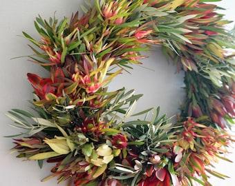 Sunset Leucadendron Wreath | Halloween Wreath | Front Door Wreaths | Fall wreaths for Front Door | Outdoor Fall Wreath | Thanksgiving Wreath
