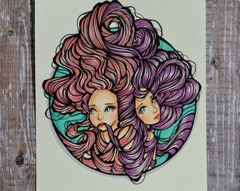 Sisters - Ties that Bind Us 5.5x7 Inch Original Ink and Copic Marker Illustration (Inspired by the special bond between sisters and friends)