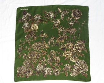JACQMAR Vintage 1950s Autumnal Floral Design Silk Scarf, Gift, Birthday, Christmas, Gifts for Her, Gifts for Wife