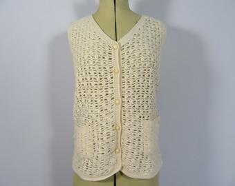70s Ladies Bespoke, Hand Knitted Crocheted Waistcoat-8-10