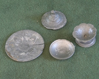 Odds and Ends of Miniature Pewter Doll Dishes - Willing to Separate