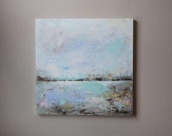 Abstract landscape painting ,abstract acrylic painting ,abstract art,minimalist art,modern painting,seascape,blue abstract