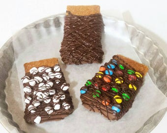 Chocolate Dipped Handmade Graham Cookies- 6 Squares