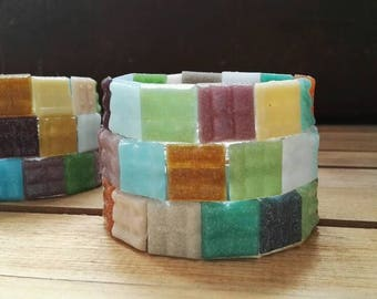 Coloured mosaic tile tea light candle holders