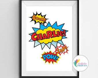 Personalised Super Hero Name Print - Superhero name print - Portrait