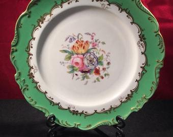 Green Floral Coalport Plate c1839