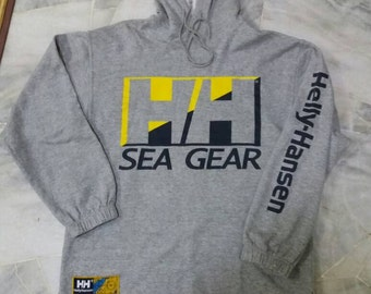 Vintage hoodie Helly Hansen Sea Gear /spell out/grey/medium/made in usa/sailling gear/hiphop