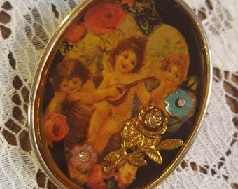 Large Vintage Resin Collage Brooch with Cupids, Flowers and Little Rhinestone Gems
