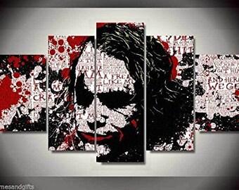 Joker Batman movie print canvas in 5 pieces