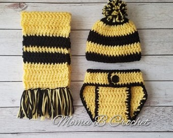 Crochet Harry Potter Baby Set, Harry Potter Hat, Harry Potter Baby Set, Hufflepuff Baby Set, Photo Prop Baby Set, Harry Potter Costume