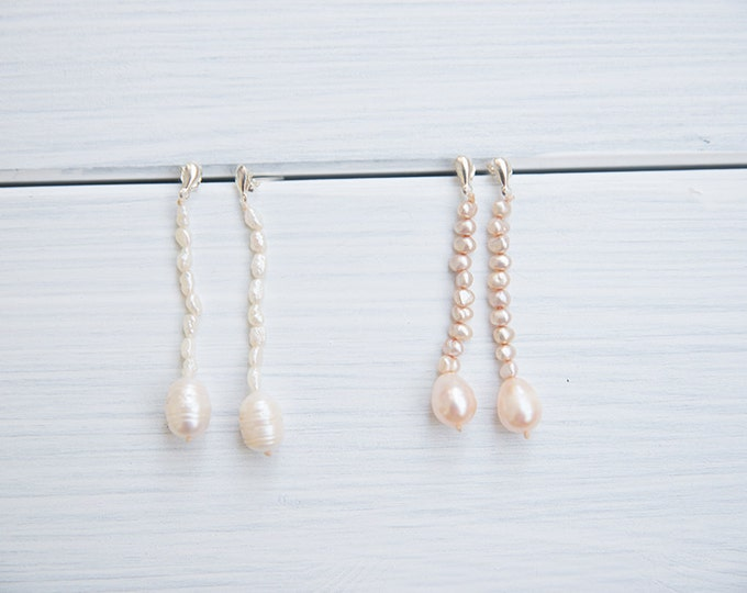 Long teardrop earrings with river pearls - 20's inspired - valentine's giftg / gifts for her /