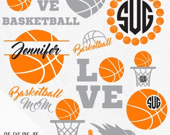 Basketball monogram svg,  basketball mom svg, basketball net svg, basketball heart svg, basketball coach svg, circle monogram svg