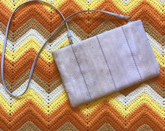 1980's Faux Cream/Taupe Snakeskin Crossbody Shoulder Bag Purse
