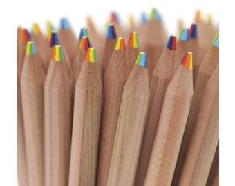 Multi Colored Pencils, Multi Color pencils, Pencils, Natural Wood Pencils, Cute Pencils, Beautiful Pencils, Pencil Set, Set of 3