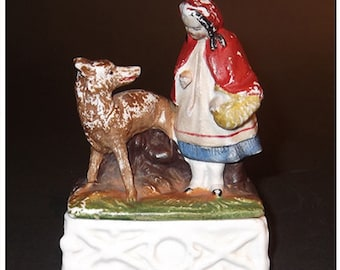Antique Staffordshire Little Red Riding Hood Trinket Box
