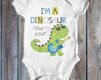 Im A Dinosaur Baby Bodysuit | Cute Baby Outfit | Funny Baby Bodysuit | Baby Shower Gift | Newborn Baby | Baby Dinosaur | Music Baby Bodysuit