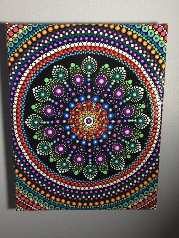 hand painted mandala on canvas mandala meditation dot art. Black Bedroom Furniture Sets. Home Design Ideas