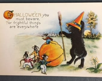 Vintage Circa 1920's Whitney Made Halloween Postcard Black cat Orange Hat Mice...Fre Shipping