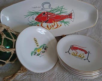 Service porcelain fish, end of the 50s. Sea and river - FRANCE.
