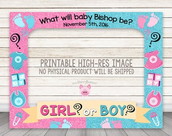 printable gender reveal photo booth frame baby shower photo booth