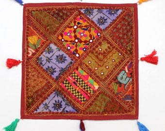 Handmade Hippie Gypsy Home Decor Ethnic Multi color Embroidered Hippy Patchwork Bohemian Pillow Shams Couch Cushion Cover Case G805