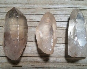 3pc Natural Clear Quartz Crystal Wands, Crystal Grid, 130g