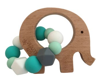 Elephant Teething ring with turquoise mix