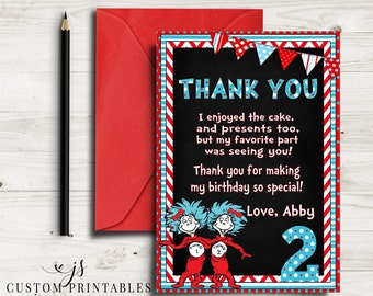 Seuss Inspired Thank You Card; Printable; Dr. Seuss Birthday; Cat In The Hat; Thing 1 and Thing 2; Chalkboard Thank You; Digital File; DIY