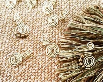 Brass Hair Jewelry, hair jewelry set of 2, gold loc jewelry, hair jewelry for locs,twists and braids, hair art, unisex hair jewelry,