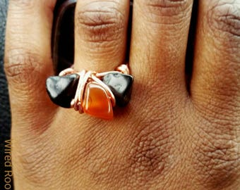 Gemstone ring, carnelian agate obsidian ring,  multi gemstone copper ring, wire wrap  ring, ethnic ring, unisex rings, boho ring