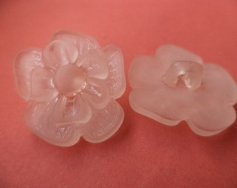 7 BUTTONS 23mm x 21mm (2883) button rose flower pink