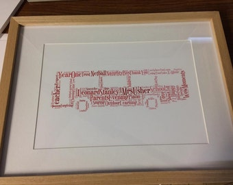 A4 Personalised Word Art Bus/Coach Print (UK ONLY)/Download