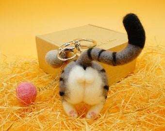 Needle felted cat butt magnet, wool felt kitty ass keychain, funny gift for cat lovers, gray tabby cat keyring, kitty fridge magnet