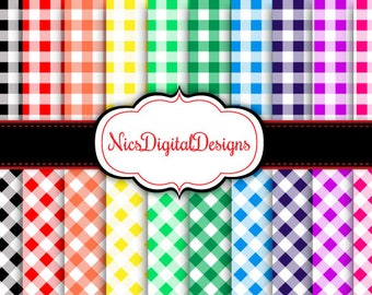 Buy 2 Get 1 Free-20 Digital Papers. Gingham in Rainbow Colours (17B no 1) for Personal Use and Small Commercial Use Scrapbooking