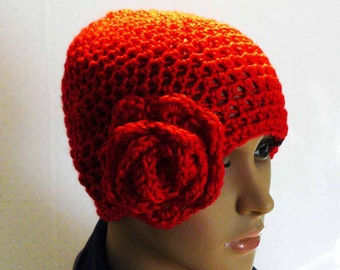 Crochet Hat, Womens Beanies, Beanie with Flower for Women and Girls, Bright Red Color, Womens Hats