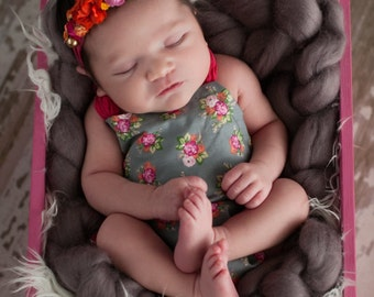 Floral Baby Romper and Headband - Newborn to 6 month size - Baby Photo Prop - Baby Romper with Headband