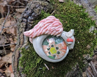 OOAk Pearl Dragon with Glass Cabochon