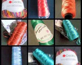 "Yarn effect Yarn Gedifra ""Viscona"" emerald green Vintage"