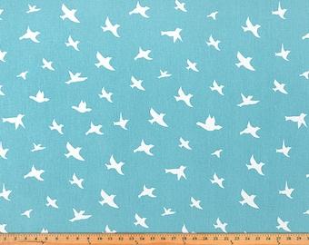 Bird Silhouette Coastal Blue/Twill, Fabric by the Yard