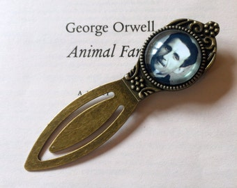 George Orwell Bookmark - Animal Farm Bookmark, 1984 Dystopian Gift, Author Bookmark, Classic Novel Gift, Metal Book Mark, George Orwell Gift