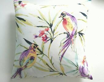 Costa Rica Bird Pillow Cover, Accent Pillow, Decorative Pillow, Birds, Flower Pillow Cover