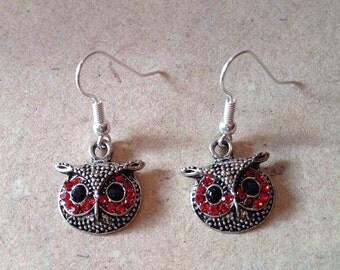 Owl Earrings red